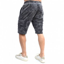 MENS GREY OIL DYE CARGO SHORTS WITH BLACK PRINT