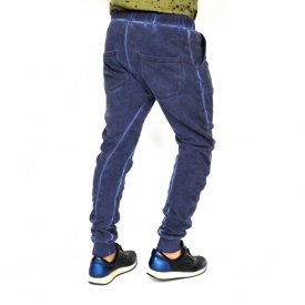 BLUE OIL DYE Sweat Pants TAPERED SLIM FIT FALL/WINTER WARM