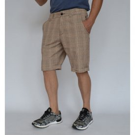 Men's beige check shorts