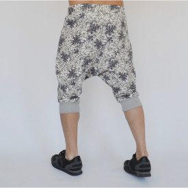 Men's Floral Motifs joggers drop crotch sweat shorts