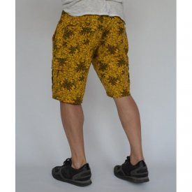 Men's Floral Motifs sweat shorts CARGO YELLOW OIL DYE