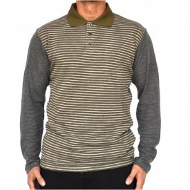 MENS KHAKI POLO SHIRT LONG SLEEVE WINTER