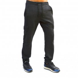 DARK GREY MELANGE CARGO MENS CLASSIC SWEAT PANTS WARM FALL WINTER