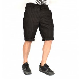 Men's black striped shorts