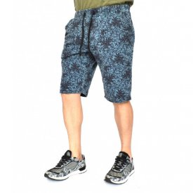 Men's Floral Motifs sweat shorts BLUE OIL DYE