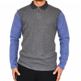 MENS BLUE POLO SHIRT LONG SLEEVE WINTER