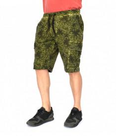 Men's Floral Motifs sweat shorts CARGO OIL DYE KHAKI