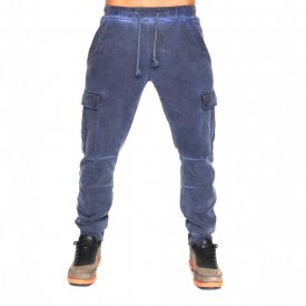 BLUE OIL DYE CARGO MENS CLASSIC SWEAT PANTS FALL/WINTER WARM