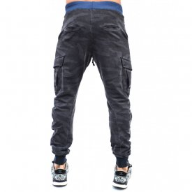 GREY CAMOUFLAGE OIL DYE CARGO SLIM MENS SWEAT PANTS FALL/SPRING