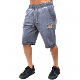 GREY OIL DYE RUGBY MENS SWEAT SHORTS<