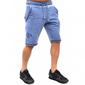 Herren Jogginghose Shorts mit Wascheffekt Rugby StyleMENS EMBROIDERED BLUE OIL DYE RUGBY SWEAT SHORTS