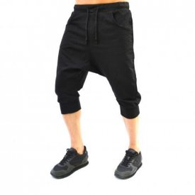 Men's Black drop crotch shorts