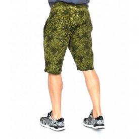Men's Floral Motifs sweat shorts KHAKI OIL DYE