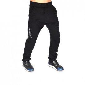 BLACK EMBROIDERED TAPERED SLIM SWEAT PANTS SLIM FALL/WINTER