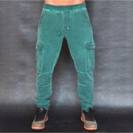 GREEN OIL DYE CARGO MENS CLASSIC SWEAT PANTS FALL/WINTER WARM