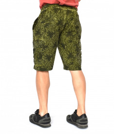 Men's Floral Motifs sweat shorts CARGO OIL DYE KHAKI