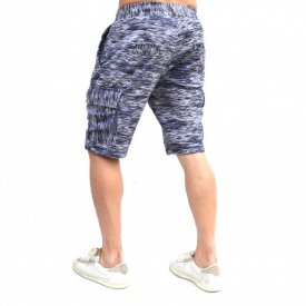 MENS WHITE CARGO SHORTS WITH BLUE&BLACK PRINT