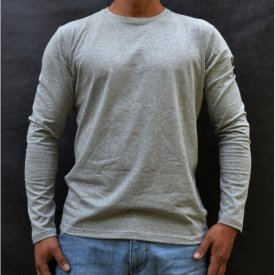 LIGHT GREY MELANGE MENS TSHIRT LONG SLEEVE