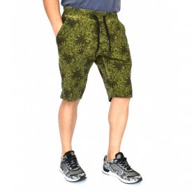 Men's Floral Motifs sweat shorts KHAKI OIL DYE