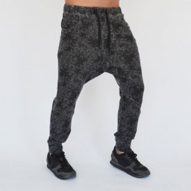 Men's Grey oil dye Floral Motifs joggers drop crotch sweat pants SPRING