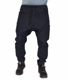 MEN'S BLUE DENIM DROP CROTCH PANTS SPRING/FALL