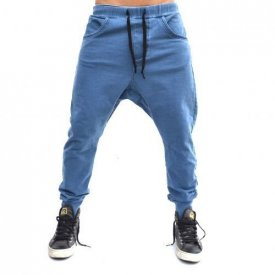 Men's blue denim joggers drop crotch sweat pants SPRING/FALL