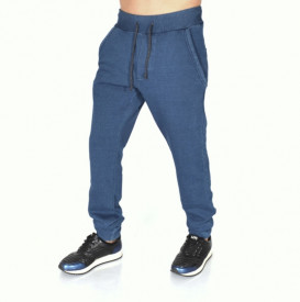 Men's blue denim joggers sweat pants FALL/WINTER WARM