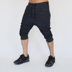 Men's denim drop crotch shorts front pockets