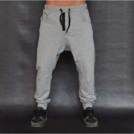 Men's Light grey joggers drop crotch sweat pants ZIP FALL/SPRING