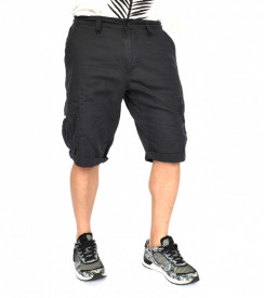 MENS CARGO SHORTS DARK GREY OIL DYE
