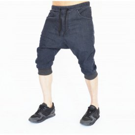 Men's Grey denim drop crotch shorts
