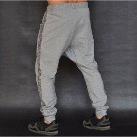 Men's Light grey joggers drop crotch sweat pants ZIP FALL/SPRING