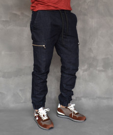 MENS DENIM BLUE PANTS CARGO ZIP TRENDFIELD SPRING/SUMMER/AUTUMN