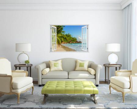 Fereastră falșă, Fereastră 3D cu vederea spre plaja cu stânci
