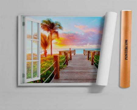 Fereastră falșă, Fereastră cu vederea spre o plajă cu palmieri la apusul de soare