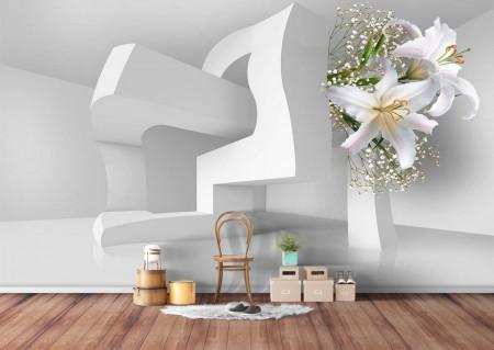 Fototapet 3D, Crini albi pe fundalul unei construcții abstracte