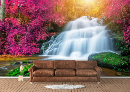 Fototapet, Cascada și copacii roz