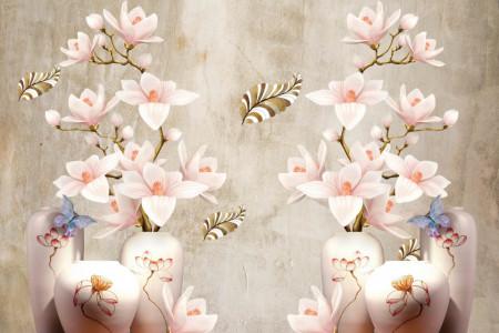 Fototapet Fantezie, Flori roz în ulcioare pe un fond cenușiu