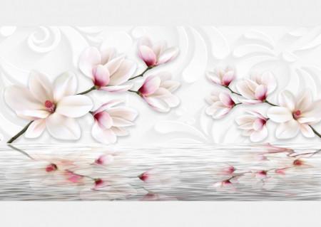 Fototapet, Flori albe delicate lângă apă