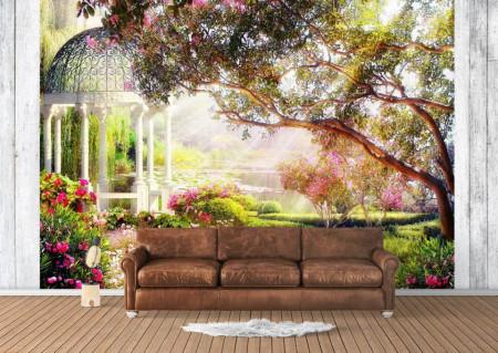 Fototapet Fresco, Fototapete cu o pergolă albă în grădină