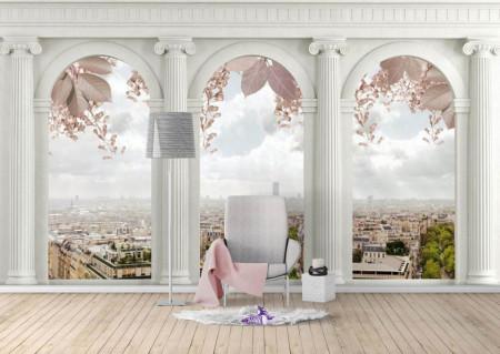Fototapet Fresco, O priveliște a orașului prin ferestrele arcuite