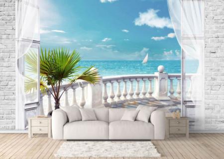 Fototapet Fresco, Un balcon alb pe fundalul oceanului