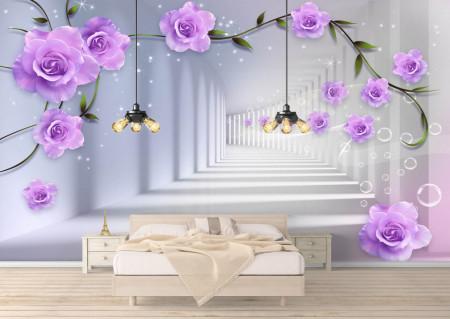 Fototapete 3D, Trandafiri purpurii pe fundalul coridorului culoare gri