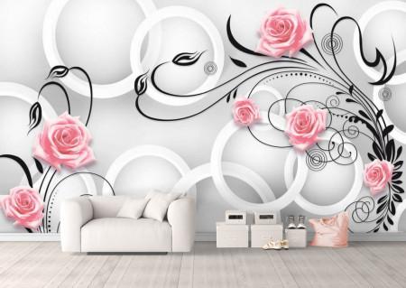 Fototapete 3D, Trandafiri roz cu frunze negre pe un fundal alb