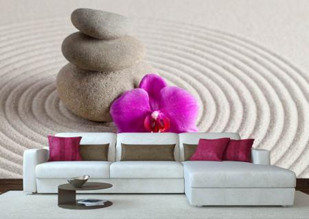 Fototapete, Cercuri pe nisip și o orhidee violet