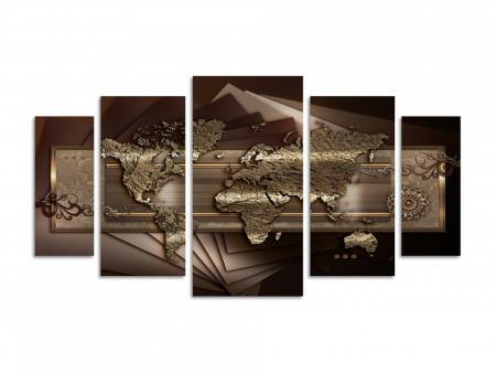 Multicanvas, Harta abstractă a lumii pe un fond maro