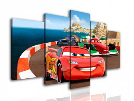 Multicanvas, Mașina roșie merge de-a lungul mării