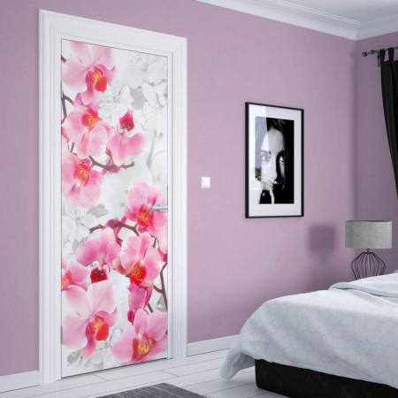 Stickere 3D pentru uși, Orhidee roz, 1 foaie de 80 x 200 cm