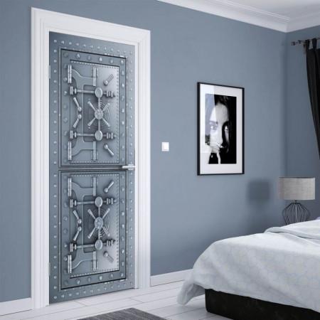 Stickere 3D pentru uși, Un seif din metal, 1 foaie de 80 x 200 cm