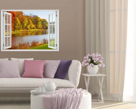 Stickere pentru pereți, Fereastra cu vedere spre un râu dintr-un parc